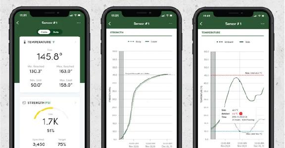 ワイヤレスコンクリート温度センサー SmartRock3 無料アプリ