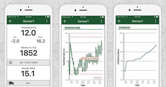 ワイヤレスコンクリート温度センサー SmartRock2 無料アプリ