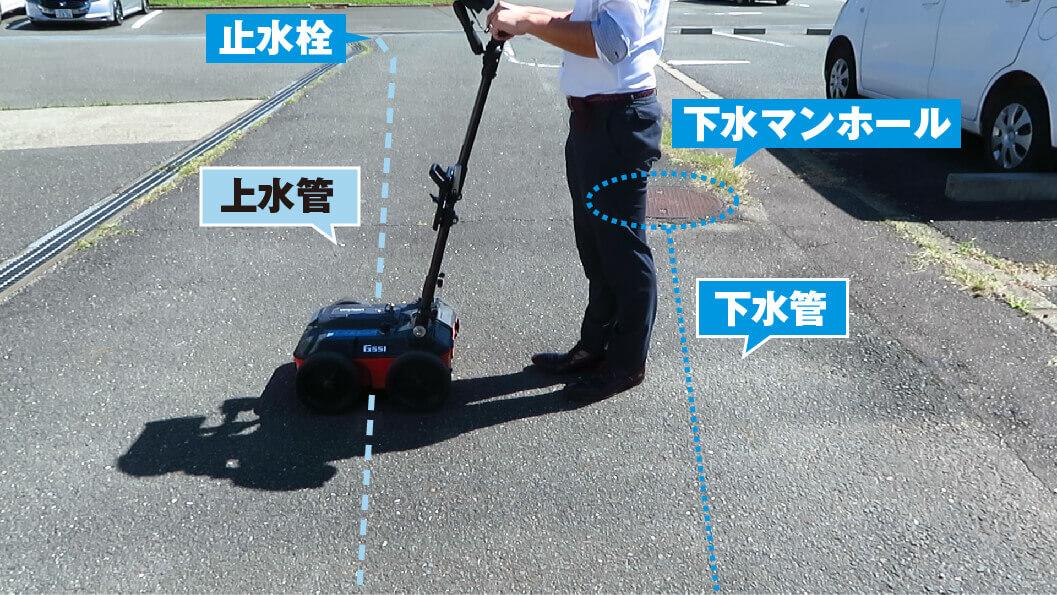 地中内部探査 上水管・下水管探査例