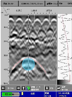 地中内引込管 2D測定 電磁波レーダ探査