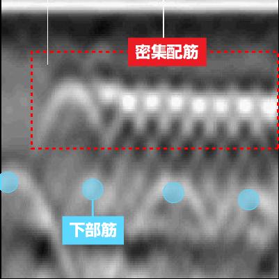 密集配筋探査(フォーカス機能の活用) 電磁波レーダ