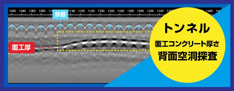 トンネル覆工コンクリート厚さ・背面空洞探査 2D測定 電磁波レーダ探査