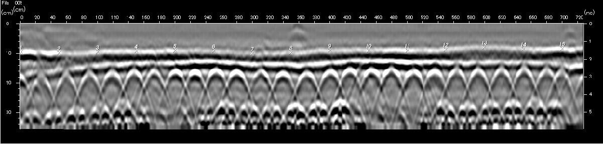 >橋梁-アスファルト舗装厚、千鳥筋・W筋探査 電磁波レーダ
