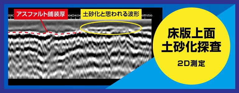 床版上面土砂化探査例 2D測定 電磁波レーダ探査