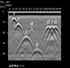 電磁波レーダ 多重反射波の概念図