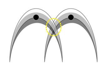 電磁波レーダ波形の読み取り方 同一深度における鉄筋編