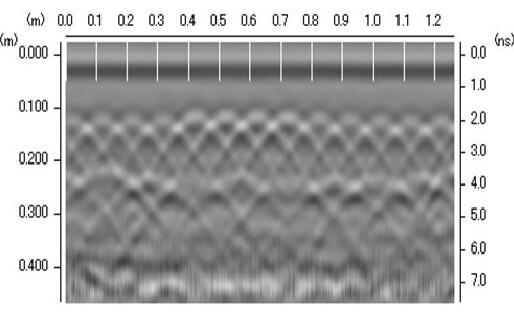 電磁波レーダ波形の読み取り方 同一径鉄筋でも深度により山形波形が異なる編